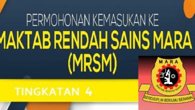 Permohonan MRSM Tingkatan 4