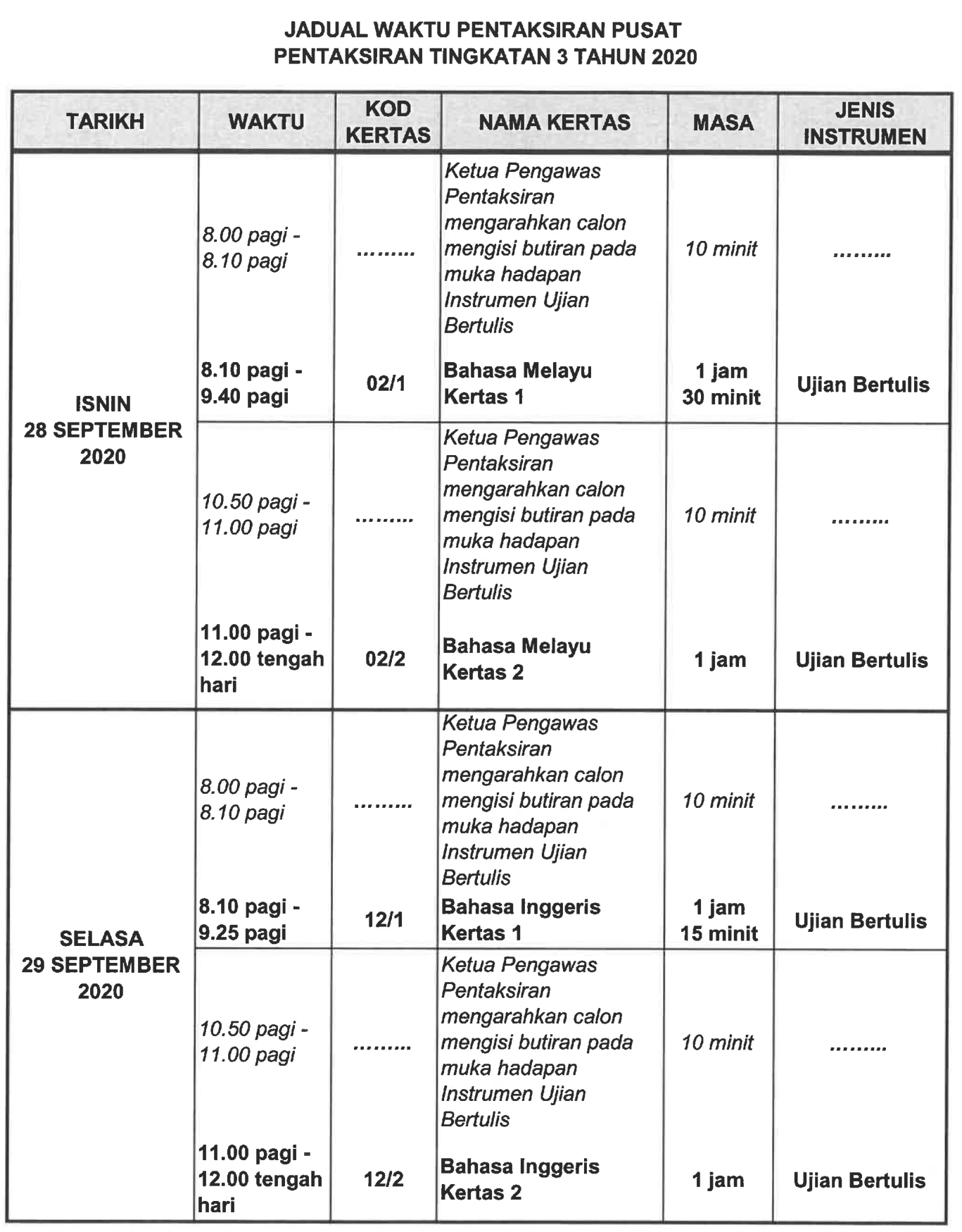 Pt3 jadual 3 2020