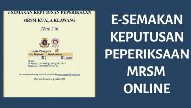 e Semakan Keputusan Peperiksaan MRSM Online
