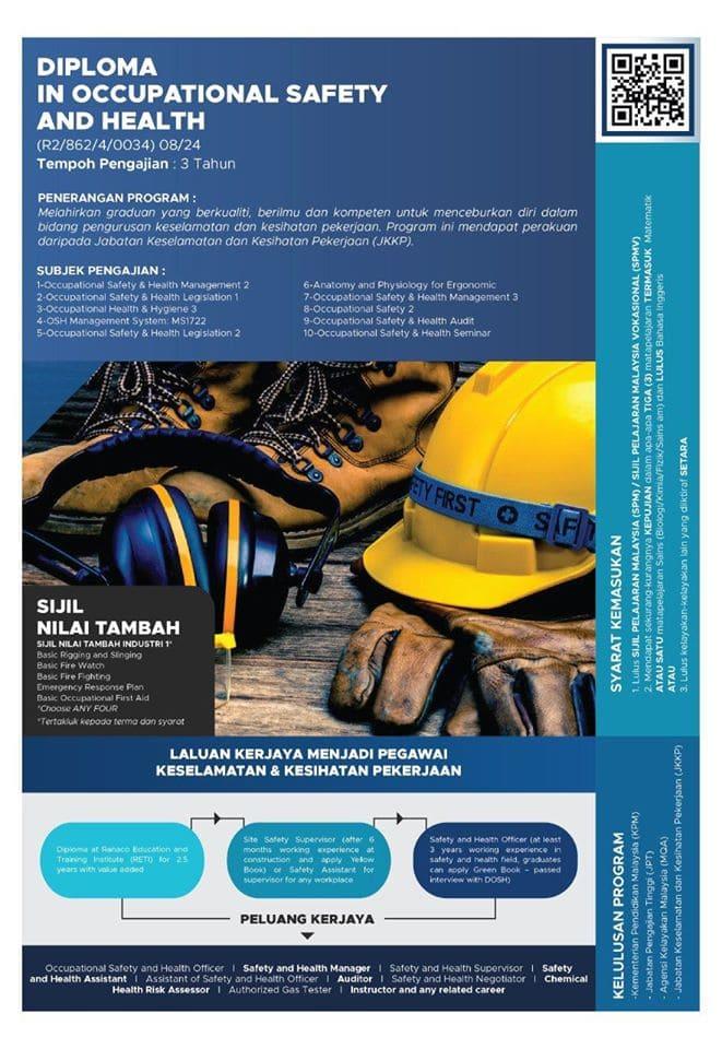 iklan permohonan diploma ovvupational safety and health reti