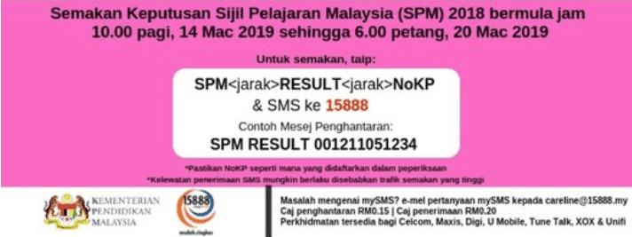 keputusan spm 2018 sms